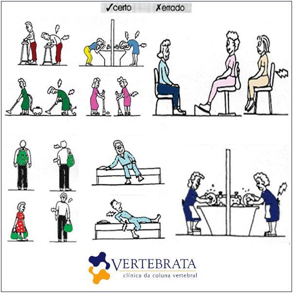 vertebata - dicas de postura certa e errada